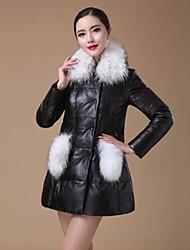 Genuine Jacket carneiro Down Zijindiao ® Mulheres com Raccoon Fur Collar