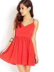la moda de las mujeres lisa de algodón sexy con un vestido de línea