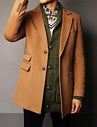 Men's Lapel Woolen Textile Fashion Outerwear