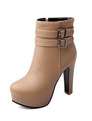 Damesschoenen - Formeel - Zwart / Wit / Beige - Blokhak - Modieuze laarzen - Laarzen - Imitatieleer