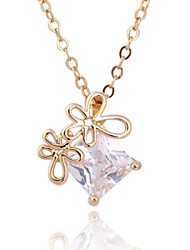 Women's New Arrival Gold Plated Hollow Flower Design Square Zircon Necklace