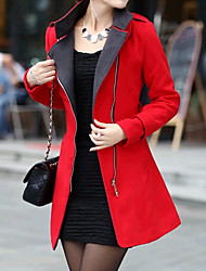 Women's Coats & Jackets , Tweed Casual Long Sleeve