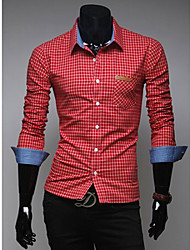 HIEND Men's Long Sleeve Check Pattern Leisure Shirt