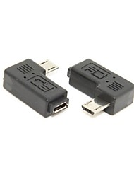 9mm Long Connector 90 Degree Right Angled Micro USB 2.0 5Pin Male to Female Extension Adapter