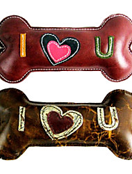 """""""I LOVE U"""" Bone Shape Genuine Leather Doggie Chewing Toy  for Pets Dogs(Assorted Colors)"""
