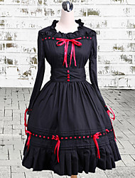 One-Piece/Dress Gothic Lolita Vintage Inspired Cosplay Lolita Dress Black Vintage Long Sleeve Medium Length Dress For Women Cotton