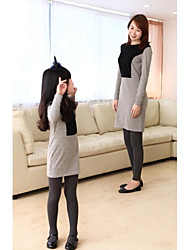 Family's Fashion Contracted  Mother Daughter Long Sleeve Dress