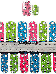 yemannvyou®2x14pcs coloridos padrão ósseo nail art adesivos s1136