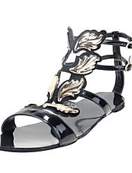 bc Lackleder Damen Low Heel Sandaletten mit goldenen Blättern Dekoration Sommer Freizeitschuhe