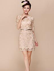 dentelle mince robe col rond robe d'organza de ouliya femmes sans ceinture