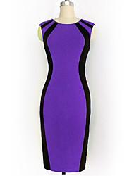 Women's Work Sheath Dress,Color Block Round Neck Knee-length Sleeveless Green / Purple Cotton Summer