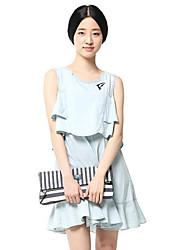 de maipinku las mujeres de dos piezas como vestido sin mangas de cuello redondo