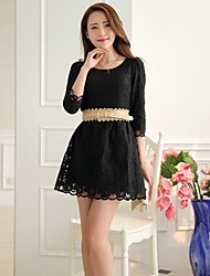 Women's Fresh Flower Lace 3/4 Sleeve Chiffon Dress