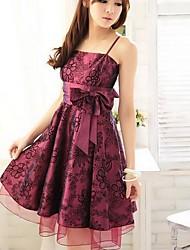 Women's Party Plus Size Skater Dress,Floral Strap Knee-length Sleeveless Purple All Seasons