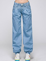 Women's Blue Plus Size Denim Casual Harem Pants