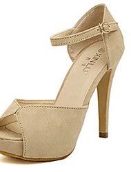 IPIEN Fashion High Heel Peep-Toe Sandal (Beige)