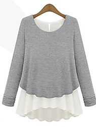 Women's Patchwork Gray Blouse , Round Neck Long Sleeve Ruffle/Layered