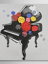 hand geschilderd olieverf stilleven piano met gestrekte kader