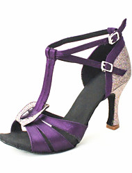 Kundenspezifische Frauen Satin oberen Latin Tanzschuhe Sandalen mit Buckie