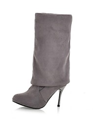 Women's Shoes Suede Fall / Winter Slouch Casual Stiletto Heel Black / Brown / Gray