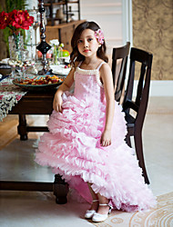 A-line Asymmetrical Flower Girl Dress - Organza Straps with Ruffles Pleats