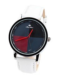 Women's Red Dial Leather Band Analog Quartz Wrist Watch