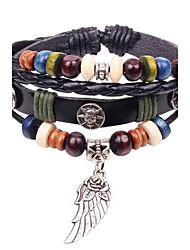 charme en cuir bracelets bracelets tressés perles fleurs ailes de style en cuir de unisexe