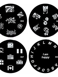 1PCS Nail Art Stamp Stamping Image Template Plate B Series NO.65-68(Assorted Pattern)