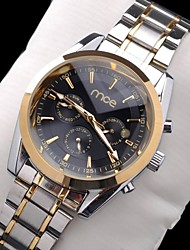 Men's Automatic Mechanical Multi-functional Waterproof Golden Case Silver Steel Band Wrist Watch