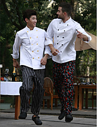 Restaurant Uniforms White 3/4 Sleeve Chef Coats with Double-Breasted Buttons
