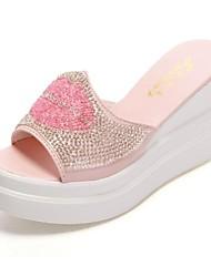 женские пятки клина слайд сандалии с горный хрусталь обувь (больше цветов)