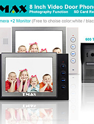 "TMAX® 8"" LCD Video Door Phone Support Photograph SD Card Recording  with  600TVL HD IR Camera (1Camera to 2Monitors)"
