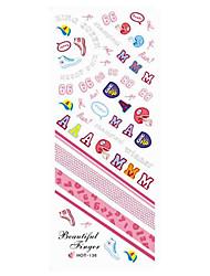 2шт Розовый каллиграфическим почерком от руки Дизайн ногтей Watermark наклейки HOT-136