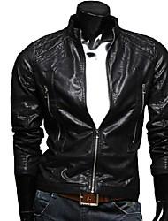 Men's Long Sleeve Casual / Work Jacket,PU Solid Black