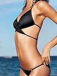 Femenina Bikinis Negro Straped Swimsuit Set Push Up Bikini Set