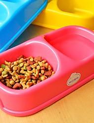 Colorful Double Bowl pour Chiens Chats (22 x 12 x 5 cm)