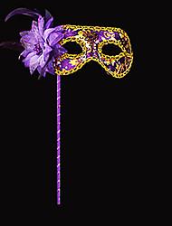 Fleur élégante et paillettes Violet PVC vacances Demi-masque