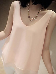 Women's  Summer Blouse Sweet Chiffon Sleeveless Ruffles  Shirt