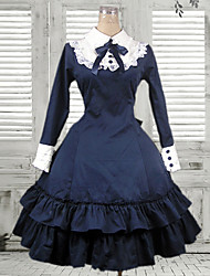 Long Sleeve Knee-length Mazarine Cotton Classic Lolita Dress