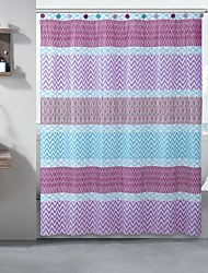 Wave Line PEVA Shower Curtain