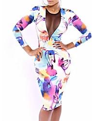 Women's Club Bodycon Dress,Print Round Neck Knee-length Long Sleeve White Polyester All Seasons