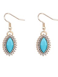 Women's European Fashion Rhinestone Oval Beaded Hooked Drop Earrings (More Colors) (1 Pair)