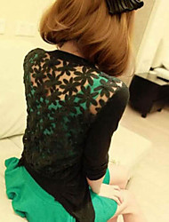 Women's Black/Green/Orange/Pink/White/Yellow Cardigan , Sexy/Beach/Casual/Lace/Cute/Party/Work Long Sleeve