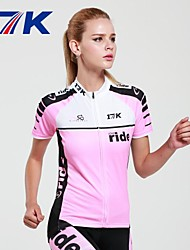 MYSENLAN Women's Short Sleeve Cycling Jersey + Shorts Cycling Suit Breathable Polyester Pink