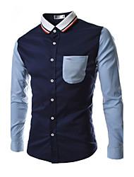 Jogal 3D style coréen Contraste Mode shirt de couleur collier manches longues Silm shirts