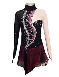 Robe de Patinage Femme / Fille Manches longues Patinage Jupes & Robes Robe de patinage artistique Spandex Noir / Violet Tenue de Patinage