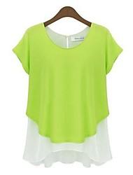Mulheres Camiseta Casual Simples Primavera / Outono,Patchwork Azul / Cinza / Verde Algodão Decote Redondo Manga Curta Fina