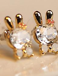MISS U Frauen Weiß Niedliche Kristall Kaninchen Bowknotohrringe