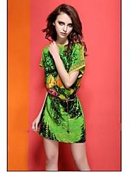 TS® Vestido (Chifon) Vintage/Casual/Estampado/Trabalho - Acima do Joelho
