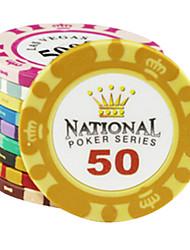 $ 50 puces motif de couronne argile de mahjong divertissement jouets